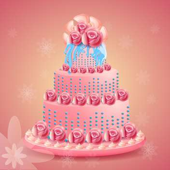 Pink beautiful birthday cake on pink background - vector gratuit #131588