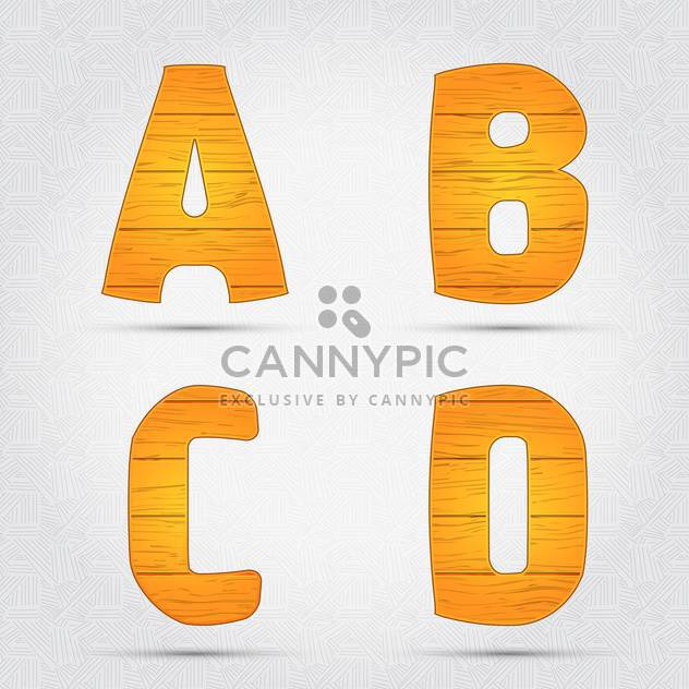 Wooden vector font on white background - Free vector #131628