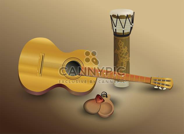 Guitar and percussion vector illustration - Free vector #131758