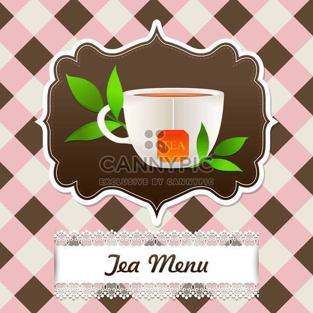Tee-Menühintergrund mit Cup und Tee Blätter - Kostenloses vector #131878