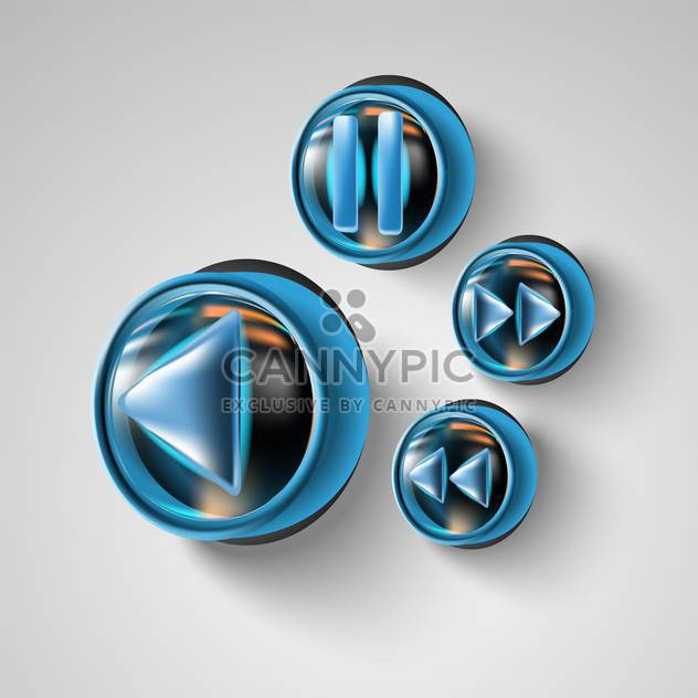 Media player buttons web design on grey background - Free vector #131888