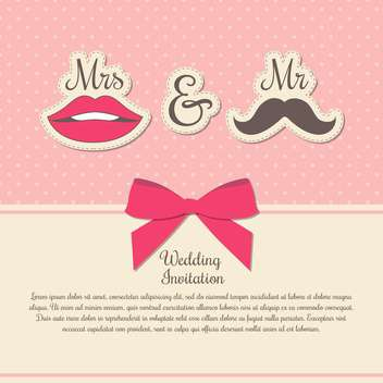 Wedding invitation card with woman and man symbols - vector gratuit #131938