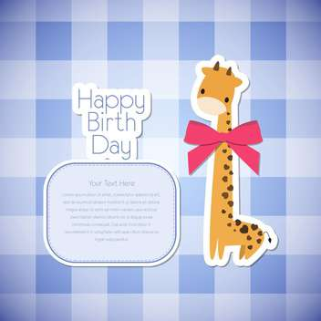 Vector greeting birthday card with giraffe on checkered background - бесплатный vector #131948