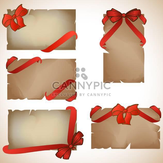 Satz von schönen Handwerk Papierkarten mit roten Geschenk-Bogen - Kostenloses vector #131958