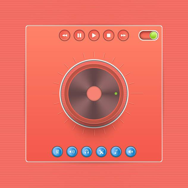 Vector web audio players on red background - Free vector #131978