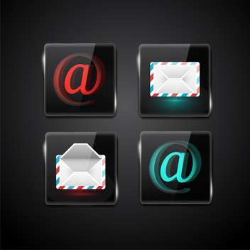 Set of vector e-mail icons on black background - vector gratuit #132008
