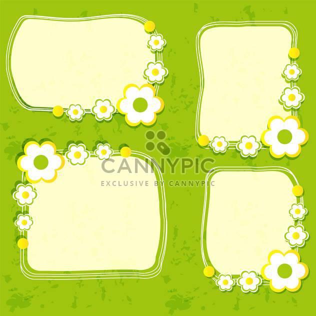 Vektor floral Frame set auf grünem Hintergrund - Kostenloses vector #132088