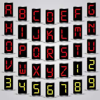 Abstract led vector alphabet and numbers - Free vector #132198