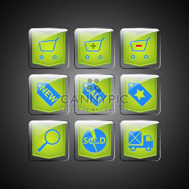 Green sale icons on black background - Free vector #132208