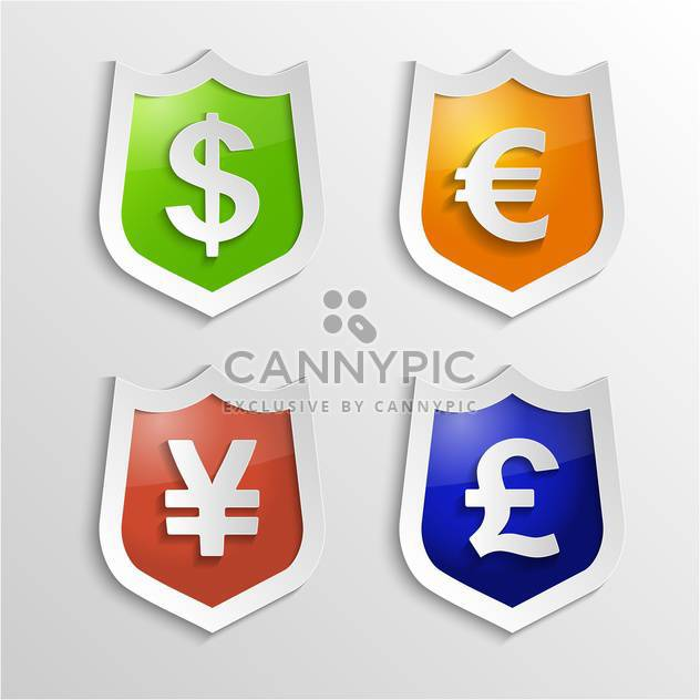 Currency signs with dollar, euro, yen and pound - Free vector #132368