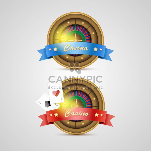 Vector casino icons with red and blue ribbons - Free vector #132388