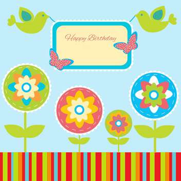 Birthday card with birds and flowers - Free vector #132478