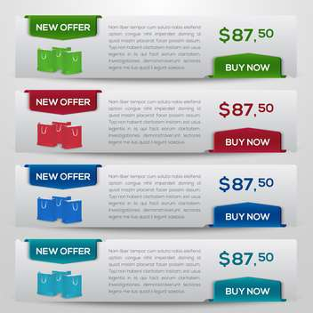 buy now and new offer button sets - vector gratuit #132568