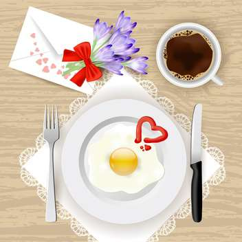 flowers and romantic breakfast background - vector gratuit(e) #132848