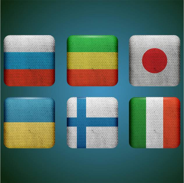 set of buttons with different country flags - vector #132858 gratis