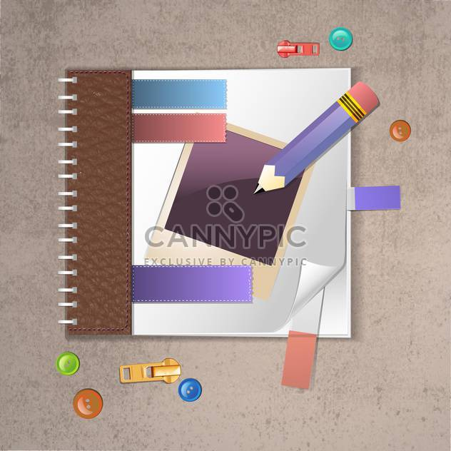 notebook with pencil and instant photo - Free vector #133238