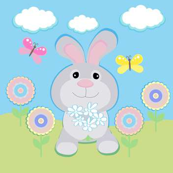 happy birthday greeting card with rabbit - бесплатный vector #133448