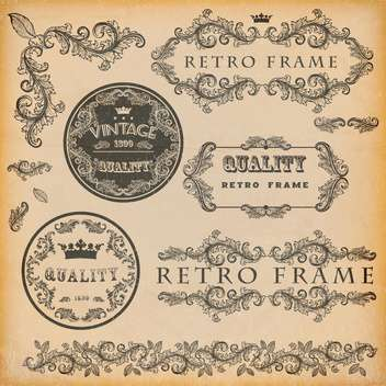 vector set of vintage frames background - vector gratuit(e) #133468