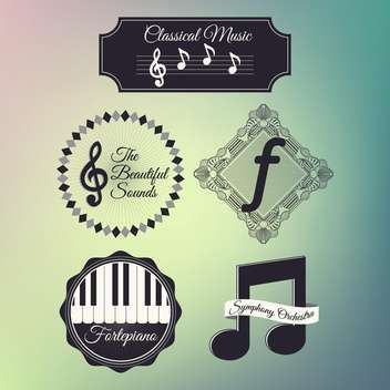 set of music icons set background - vector #133558 gratis