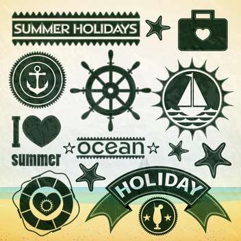 summer holiday icons set - vector gratuit #133858