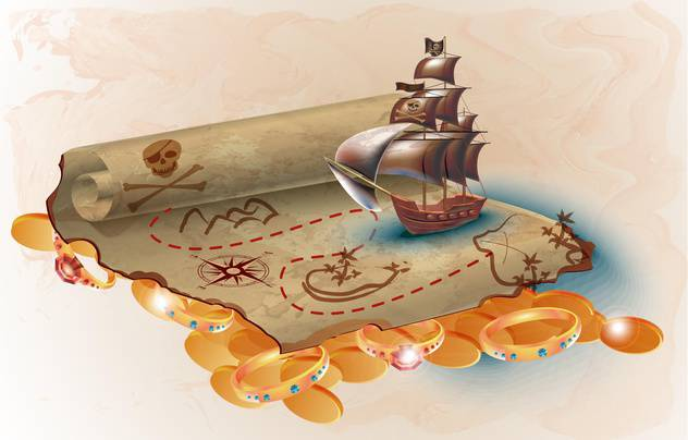 pirate ship and treasure map - бесплатный vector #133868