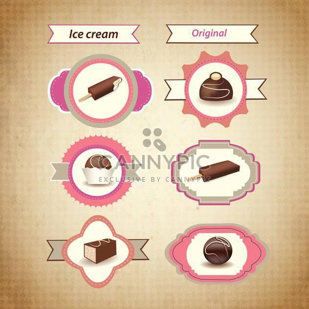retro ice cream icons - Free vector #133958