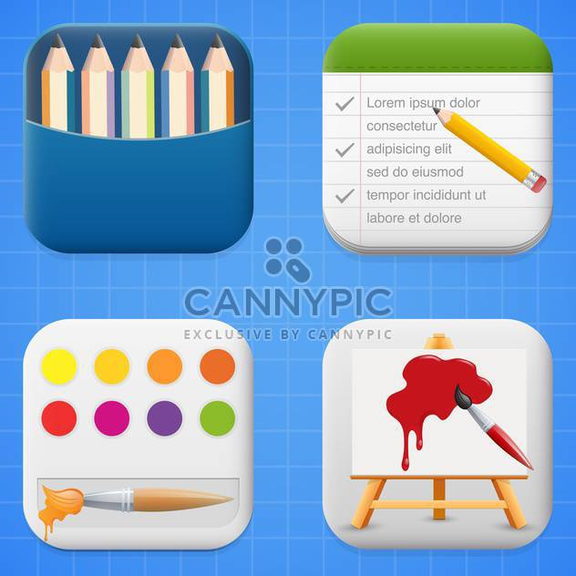 vector set of art icon buttons - Free vector #134018