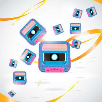 vector background with vintage sound cassettes - Free vector #134138