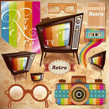 vintage media illustration background - vector gratuit #134158