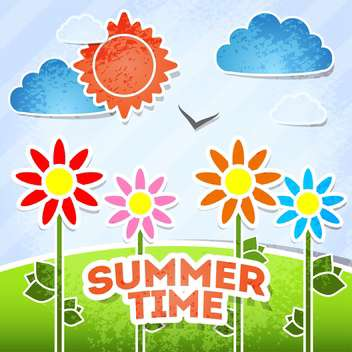 summer time card vacation background - vector gratuit #134178