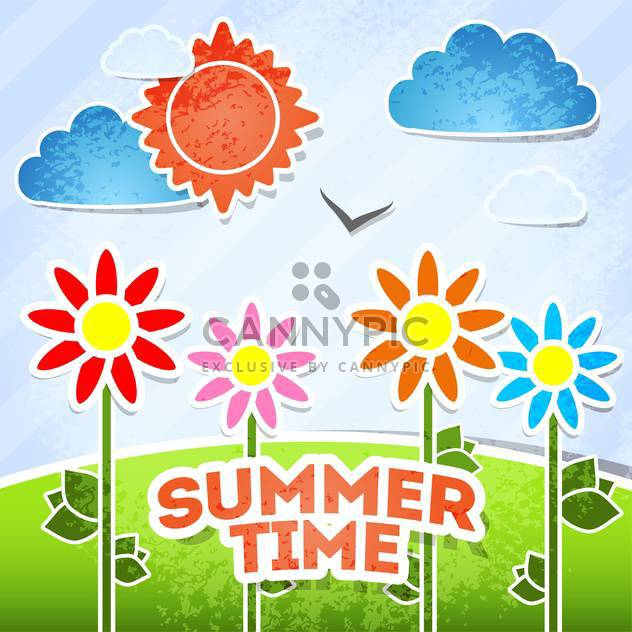 summer time card vacation background - Free vector #134178