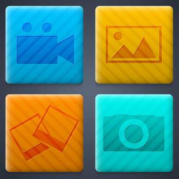 media web buttons background set - Free vector #134448