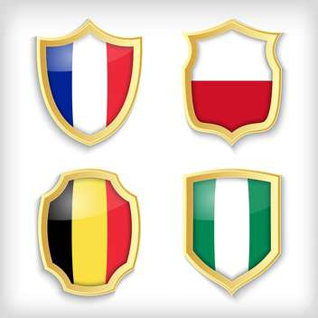 set of shields with different countries stylized flags - Free vector #134518