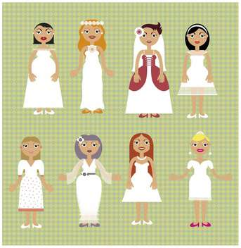 cartoon wedding day dress set salon illustration - vector gratuit #135038