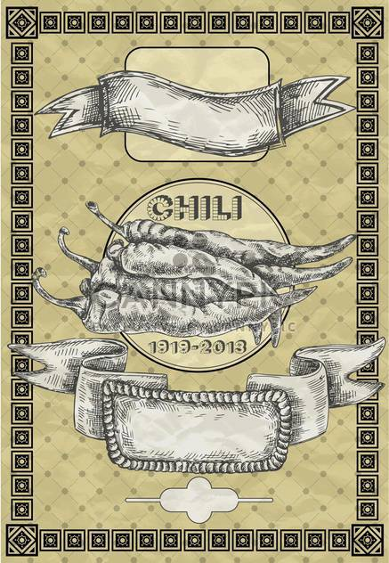 vintage banner with chili pepper illustration - Free vector #135108