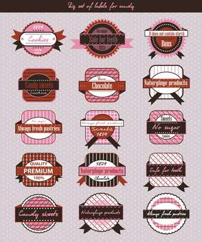 vintage candy shop labels and stickers - vector gratuit #135138