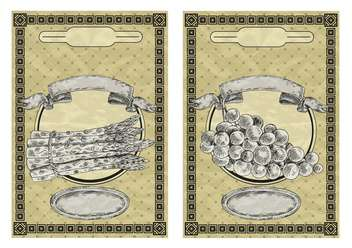 vintage style labels for grape and asparagus - vector gratuit #135148