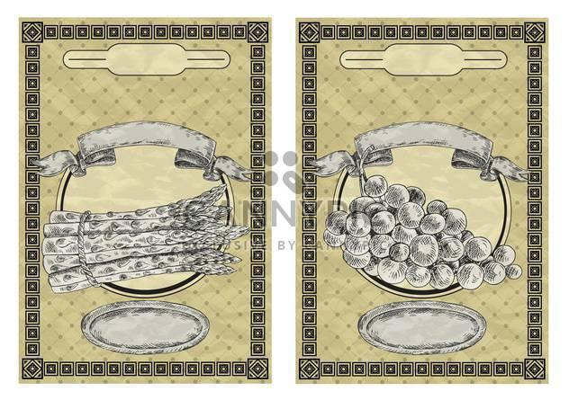 Vintage-Stil-Etiketten für Traubenmost und Spargel - Free vector #135148