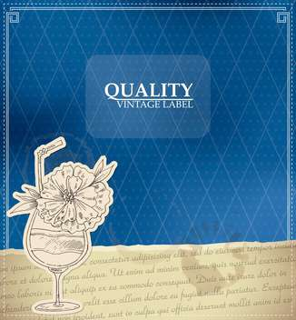 vintage style label with cocktail - vector #135178 gratis