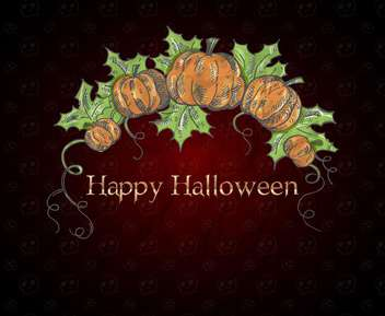 Halloween card with pumpkins on dark red background - Free vector #135288