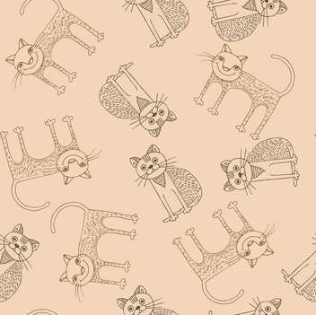 Funny cartoon cats pattern vector illustration - Free vector #135308
