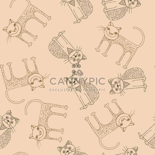 Lustige Cartoon-Katzen-Muster-Vektor-illustration - Free vector #135308