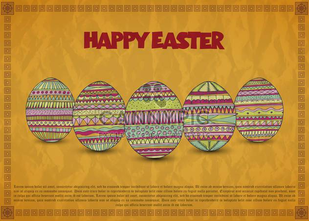 Vintage Easter card with colorful holiday eggs - Free vector #135318