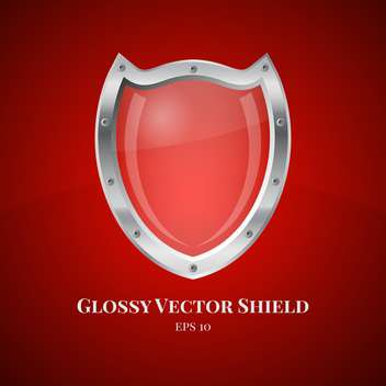 Vector illustration of security shield symbol icon on red background - vector gratuit #125728