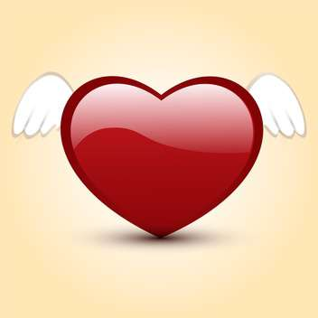 Vector illustration of shiny red heart with white wings - vector gratuit #125768