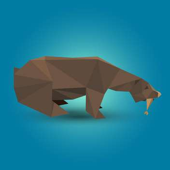 Vector illustration of brown origami bear on blue background - Free vector #125798