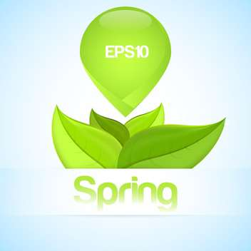 Vector illustration of spring background with green leaves on blue background - Free vector #125808