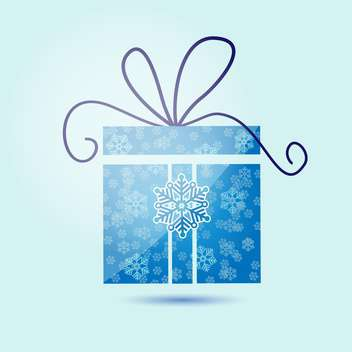 Vector illustration of Christmas gift box with snowflakes on blue background - Free vector #125848