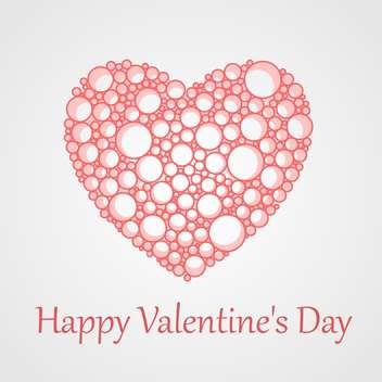 Vector card for Valentine's Day with bubbles heart on white background - vector #125878 gratis