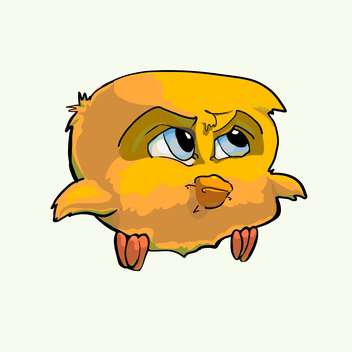 Vector illustration of cartoon formidable yellow bird on white background - Free vector #125948